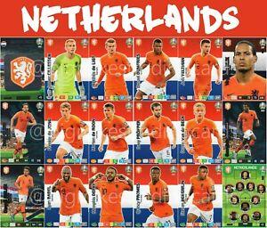 Panini-Adrenalyn-Xl-Uefa-Euro-2020-juego-de-equipo-completo-de-18-cartas-de-paises-Bajos-Euros