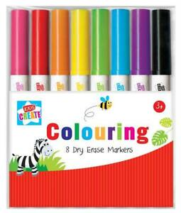UK-8-Colouring-Dry-Erase-Marker-Pens-Easy-Whiteboard-Wipe-Clean-Book-Kids