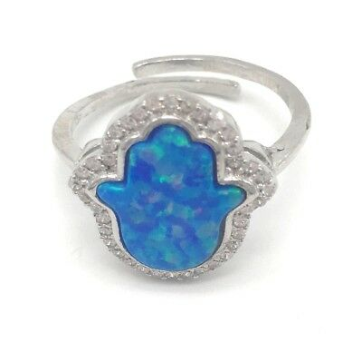 Silver 925 Blue Opal Hand of Hamsa Adjustable Size Ring