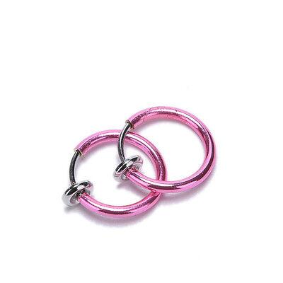 4x Clip On Fake Nose Hoop Ring Ear Septum Lip Navel Eyebrow Earrings Piercing FO