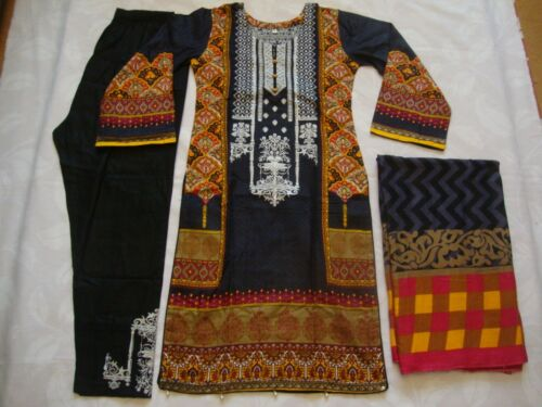 Gul Ahmed Linen Suit black Embroidered Asian Ready Made 2019 Pakistani Indian