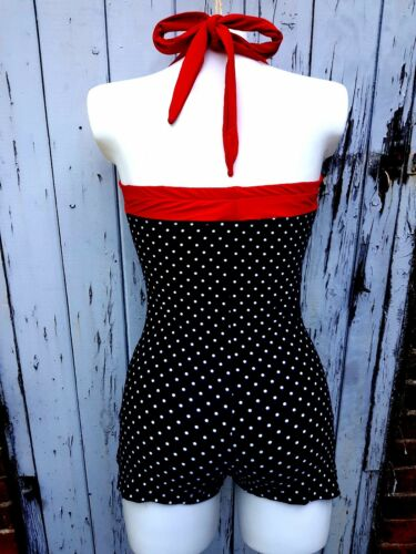 1950s Pin Up Girl Black /& White Polka Dot Swimming Costume 10 12 14 16 Buttons