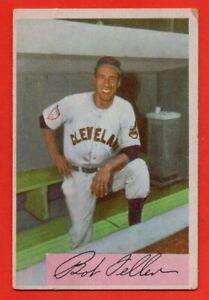 1954-Bowman-132-Bob-Feller-VG-VGEX-WRINKLE-HOF-Cleveland-Indians-FREE-SHIPPING