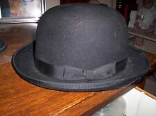 Old West black bowler derby hat 100% wool size 7 1/2
