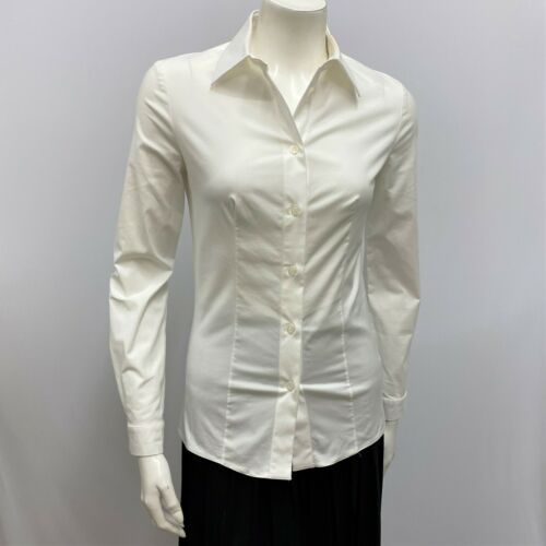 Prada Milano Shirt Top White Button Down Cotton St