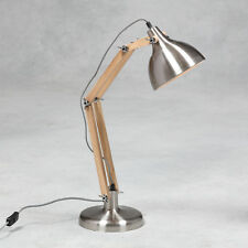 Vintage Steel Wood Desk Table Lamp Angle Retro Posable Metal Chrome Silver New