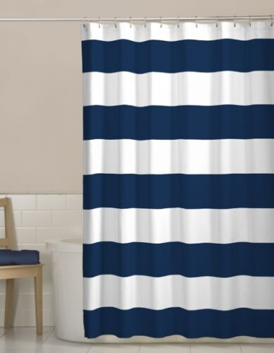 NEW Maytex Porter Navy Blue Stripes Fabric Shower Curtain