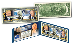 BENJAMIN NETANYAHU Israel Prime Minister GENUINE Legal Tender U.S $2 Bill