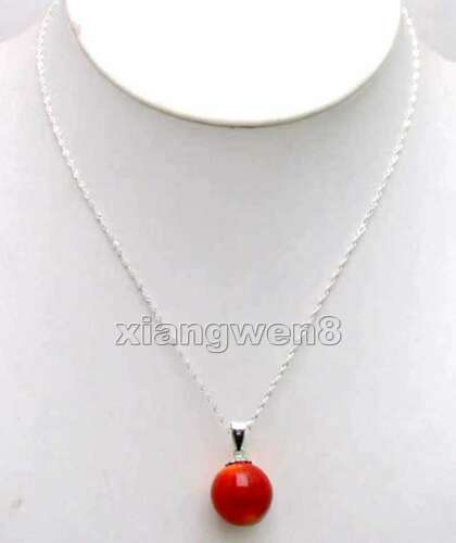 """11-13mm Red Round Natural Coral Pendant Necklace for Women 16/"""" Silver S925 Chain"""