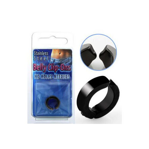 navel ring black anodized Fake piercing belly