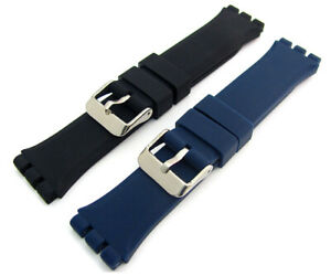 Chunky-Silicone-Strap-19mm-For-Swatch-Irony-Chrono-Watch-Black-or-Blue-C094