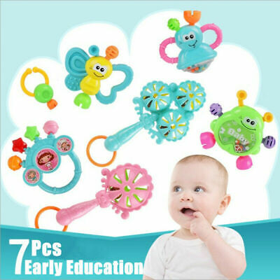 7pc Newborn Toddler Baby Shaking Bell Rattles Teether Toys Kids Hand Toy-JT