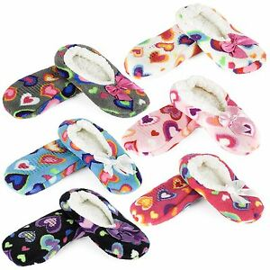Indoor Slippers with Gripper Sole, Hearts Design