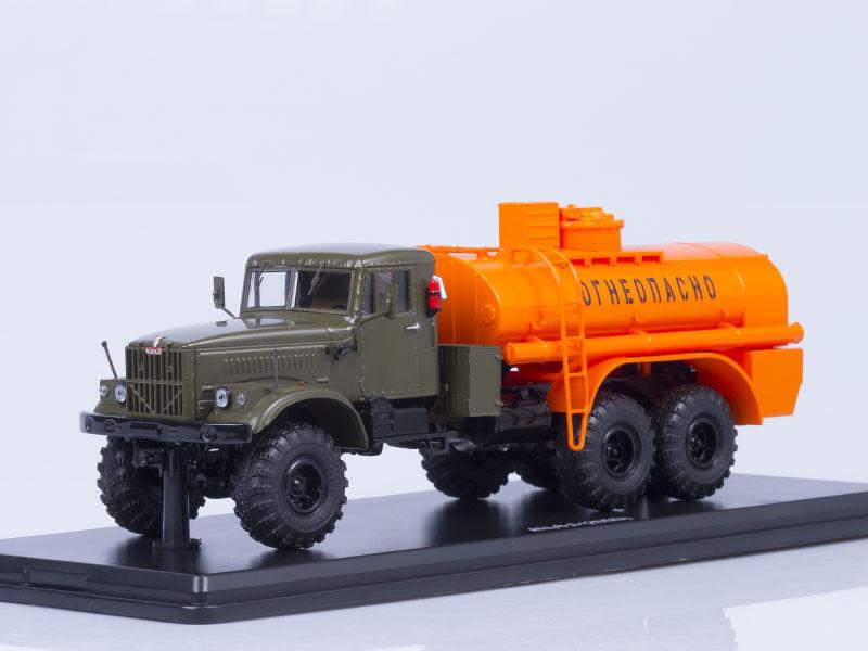 Scale model truck 1 43 AC-8,5 (KRAZ-255B), khaki-Orange   metal. frame