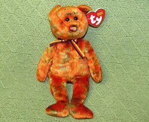 "TY BEANIE BABIES M C MASTERCARD IV TEDDY BEAR  8"" WITH HEART TAG 3 COLOR RIBBON"