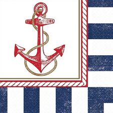 SUMMER Anchors Aweigh LUNCH NAPKINS (16) ~ Birthday Party Supplies Serviettes