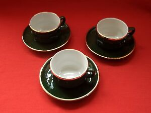 3 X APILCO  FRANCE  BISTRO WARE  GREEN amp GOLD  COFFEE  ESPRESSO CUP amp SAUCER - HIGH WYCOMBE, Buckinghamshire, United Kingdom - 3 X APILCO  FRANCE  BISTRO WARE  GREEN amp GOLD  COFFEE  ESPRESSO CUP amp SAUCER - HIGH WYCOMBE, Buckinghamshire, United Kingdom