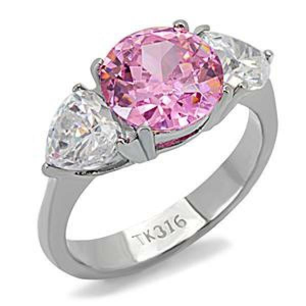 Stainless Steel Pink CZ Ring W/ Heart Accent Stones FSH  A3