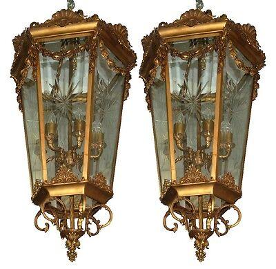 Pair of 19th C. Hanging Bronze Lanterns #7566