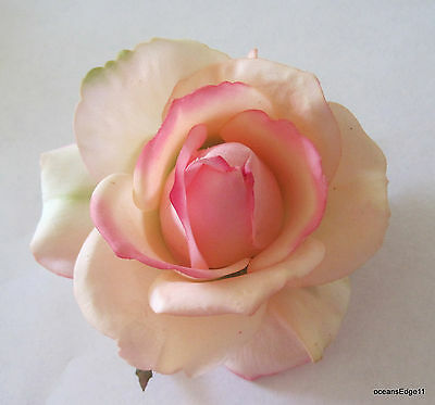 "4"" Blush Pink,Cream Real Touch Rose,Poly Silk Flower Hair Clip,Rockabilly.Pin Up"