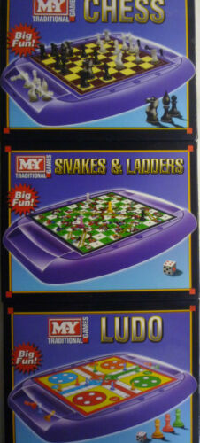 Travel Game Chess, Ludo or Snakes & Ladders Board Game with built in holder