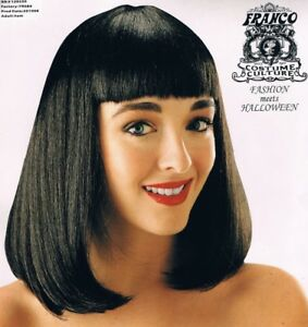 Details About Black Peggy Sue Wig Deluxe Straight Shoulder Length Hair Bangs 1950s Flapper