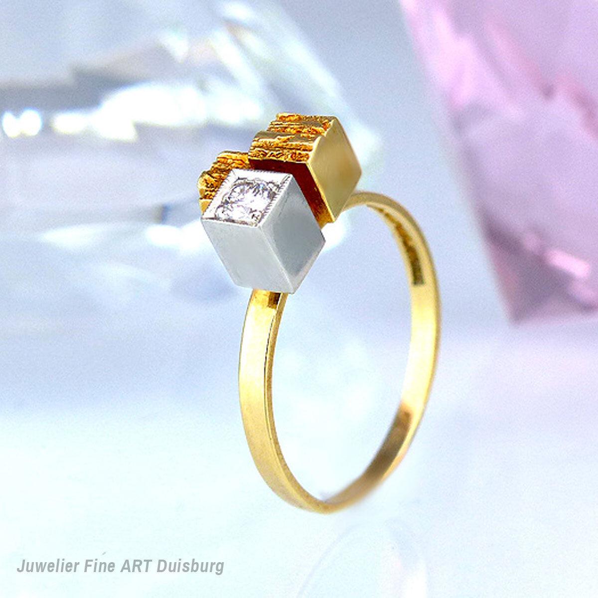 Lapponia Ring  Diamond Turret  750 - GG mit 1 Diamant 0,09 ct. Top Wesselton VVS