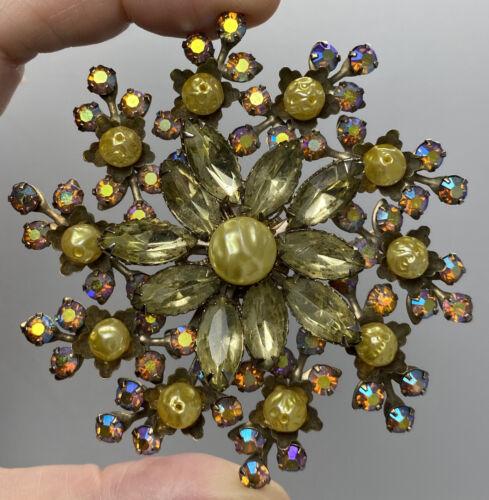 Sparkly Vintage Aurora Borealis AB Crystal Citrin… - image 1
