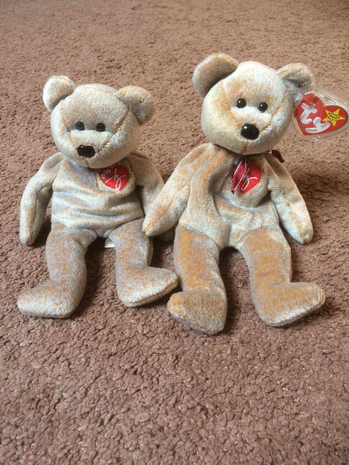 Ty Signature Beanie Baby Bears 1999 RARE, RETIRED Set of 2