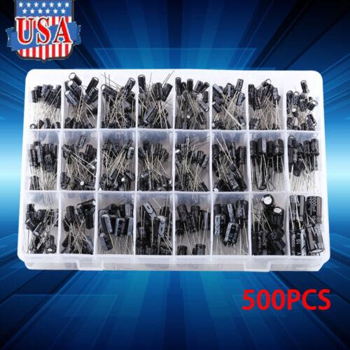 500PCS Electrolytic Capacitor Assortment Box Kit 0.1UF-1000UF 16V-50V 24 Values