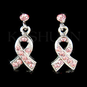 115fc4205 Image is loading w-Swarovski-Crystal-Support-Breast-Cancer-Awareness-Pink-