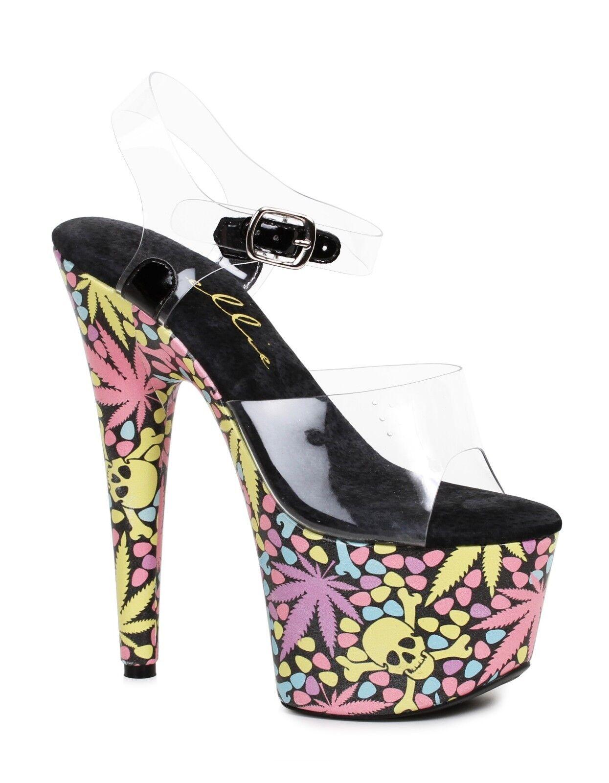 7  rosadodo claro negro marihuana leaf Stripper Tacones Zapatos Zapatos Zapatos De Plataforma Tacones Ellie  ahorra hasta un 70%