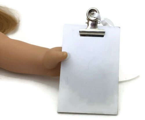 """Mini White Clipboard made for 18/"""" American Girl Doll Clothes Accessories"""
