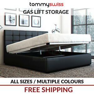 TOMMY-SWISS-DELUXE-KING-QUEEN-amp-DOUBLE-GAS-LIFT-STORAGE-PU-LEATHER-BED-FRAME