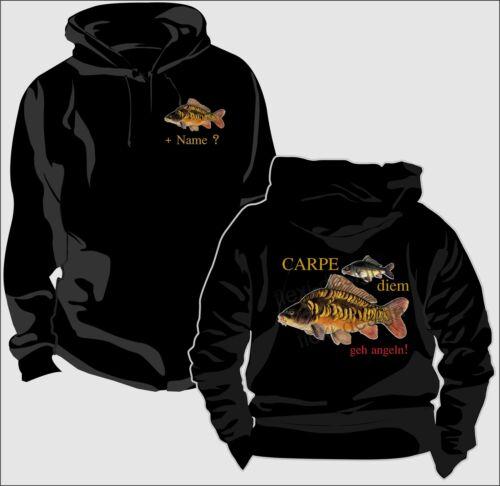 Sweatshirt Kapuzenpullover Pullover Angler Carpe diem Carpfishing Karpfen Fun 45