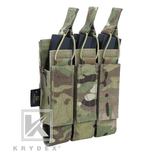 KRYDEX Triple Open Top Mag Pouch Tactical Magazine Holder MOLLE for MP7 Multicam