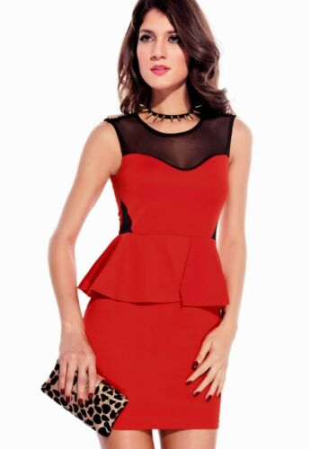 Sz 10 12 Black w Studs Mesh Peplum Formal Dance Party Cocktail Chic Mini Dress