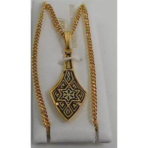 Damascene-Gold-Star-of-David-Deltoid-Shape-Pendant-Necklace-by-Midas-of-Spain