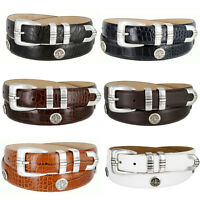North Carolina Men's Genuine Leather Belt With Golf Concho In Various Colors