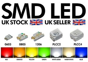 Quality SMD LEDs 0603 0805 1206 3528 PLCC2 PLCC4 RED PINK WARM WHITE BLUE GREEN