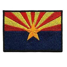 "ARIZONA STATE FLAG IRON ON PATCH 3"" Blue Red Yellow Embroidered Applique Biker"