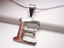 "The Letter ""E"" Pendant 925 Sterling Silver Corona Sun Jewelry Smooth Shiny e"