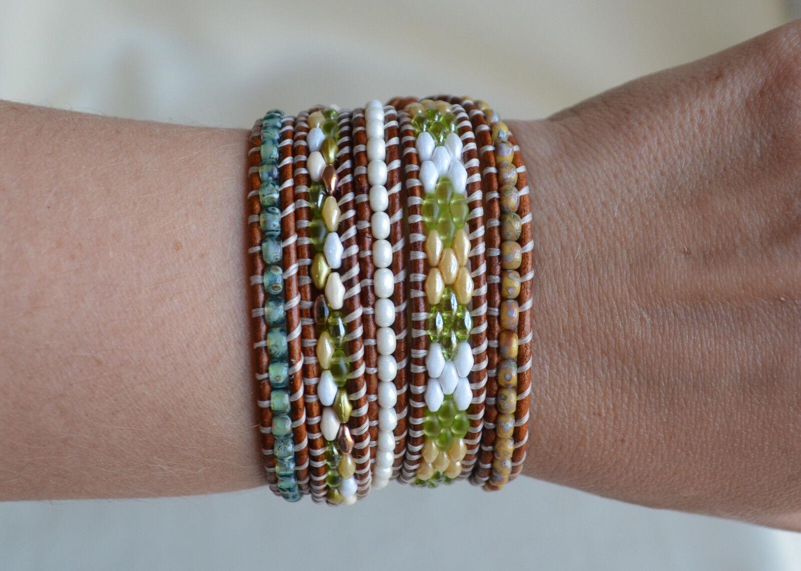 Green Five Wrap Bracelet Handmade Beads On Leather Beaded 35.25-36.25'' By Yevga