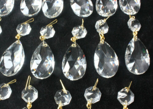 20 CRYSTAL CHANDELIER LAMP PART GLASS PRISMS BEAD 1.5/'/' LUSTER PENDANT WX1-2 SET