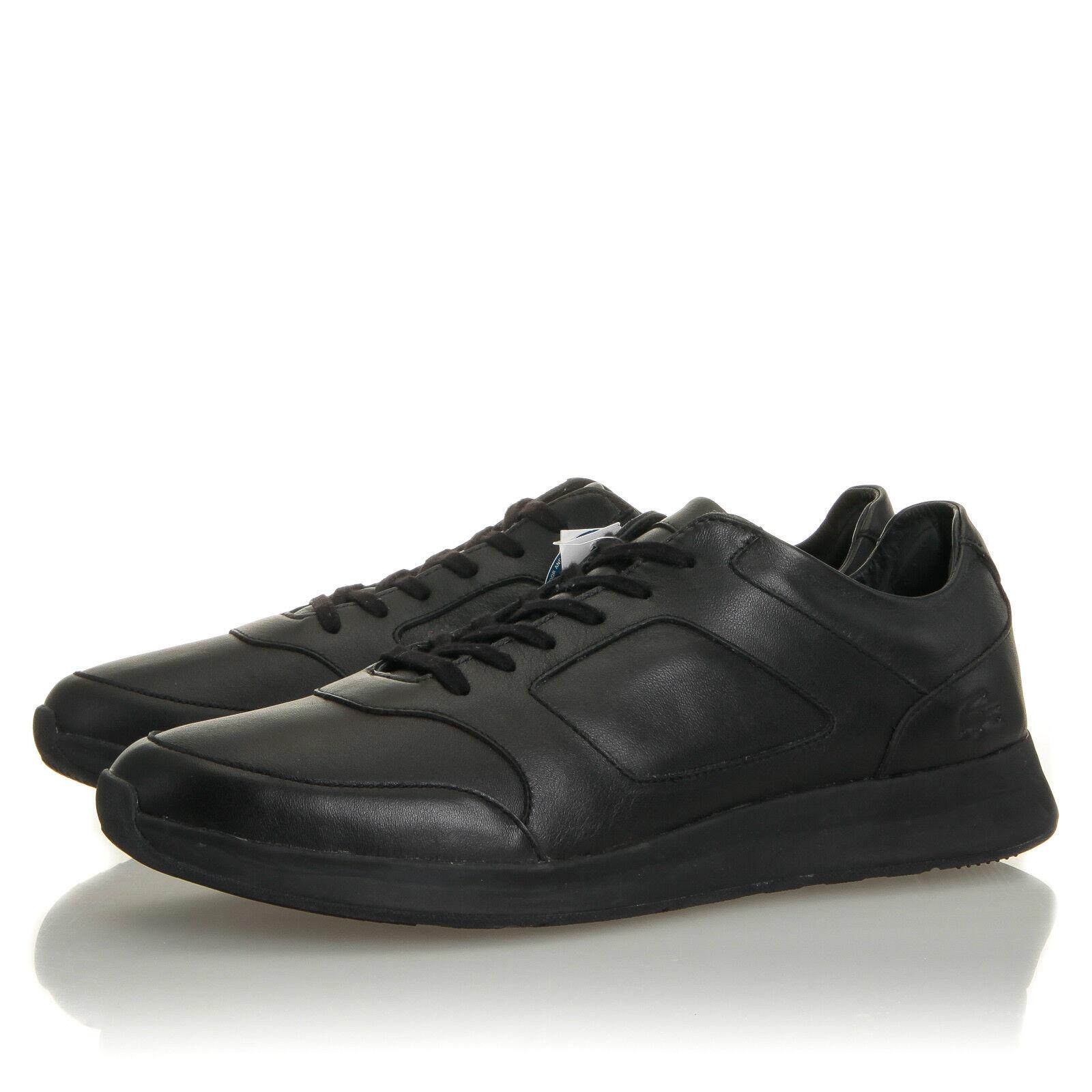 Lacoste Joggeur 316 Black Leather Sneaker - Mens 12