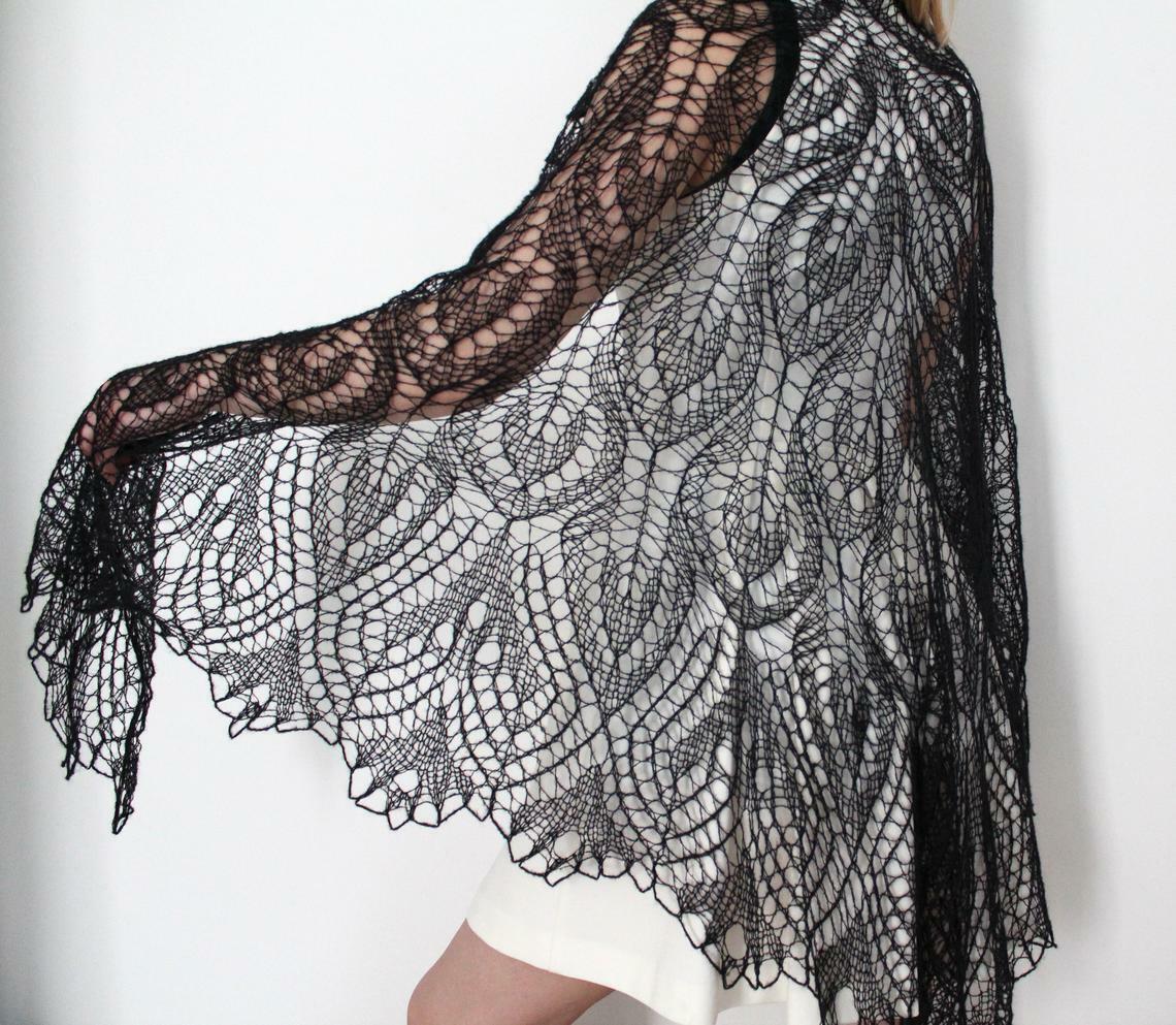 Knitted scarf shawl, knit shawl, knit scarf, black shawl, knitted shawl and wrap
