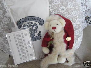 "9"" Knickerbocker Nicolas Bear as Father Xmas w/Bag, CoA, Care Guide, Brush--EUC"