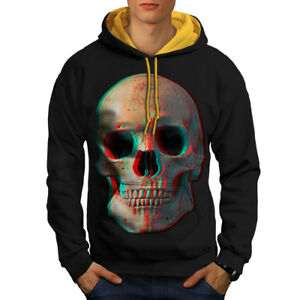 3D nero Felpa cappuccio a uomo contrasto Skull con oro Skeleton cappuccio w8FFOtgq