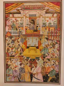 Hand-Painted-Mughal-Maharajah-Court-Scene-Darbar-Miniature-Painting-India-Art