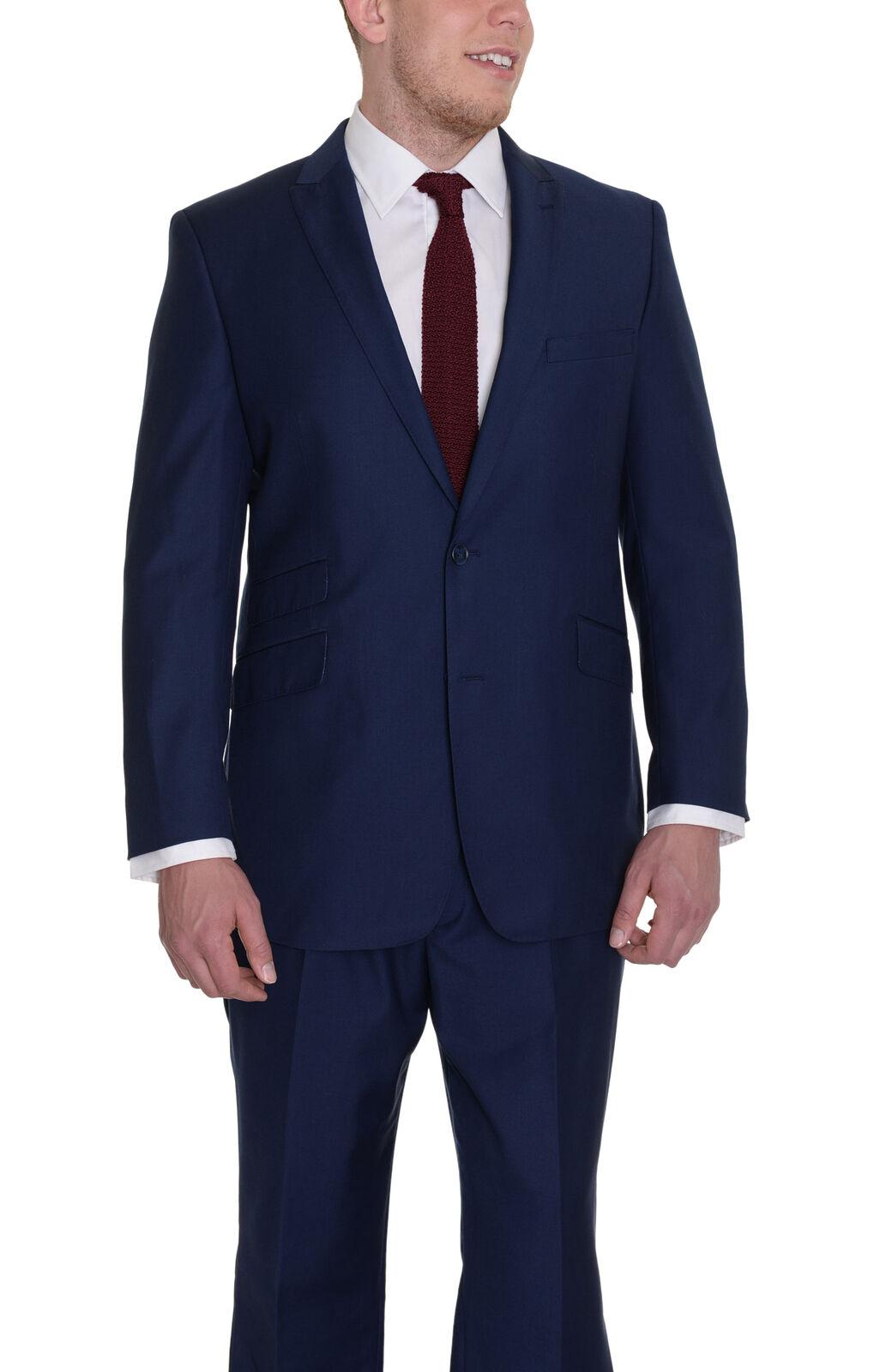 Herren 50 L Raphael Einfarbig Blau Anzug mit Spitze und Fahrkarte Tasche